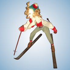 Wonderful old Klumpe Rodan Skier doll Free P&I US Buyer