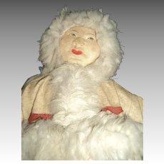 "14"" 30's  Russian Cloth Eskimo Doll Free P&I US Buyers"