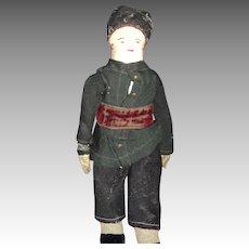 "Wonderful 17"" 1930's  Cloth Russian man doll Free P&I US Buyers"