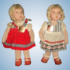 "2 Adorable Kathe Kruse 10"" Dolls W/tags  for repair Free P&I US Buyers"
