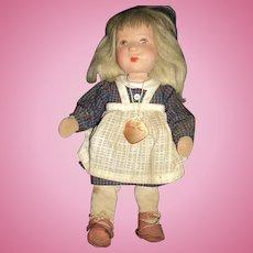 "Adorable 10"" Kathe Kruse doll  w/tag Needs repair Free P&I US Buyers!"