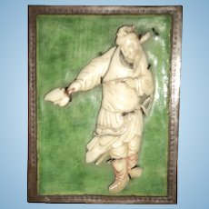 Old Chinese carved figure Trinket Box Free P&I US Buyers