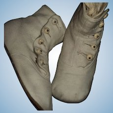 Large Pair high button white suede doll shoes for china or bisque Free P&I US Buyers