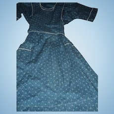 Large Dark Blue Old Dress w/ apron effect ould be ussed for dolls Fee P&I US Buyers