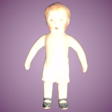 "Sweet 3.5""  all Bisque boy doll house doll  Free P&I US Buyers"