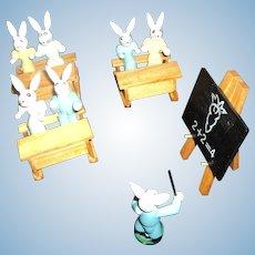 Miniature wooden Bunny Rabbit classroom Free P&I US Buyers
