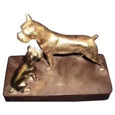 Wonderful Boxer Dog & puppy Book Ends Free P&I US Buyers