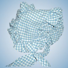 Sweet Blue & White Check Sun  bonnet for doll Free P&I US Buyers