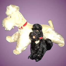 Two Steiff Vintage Poodle dogs Snobby Free P&I US Buyers