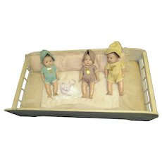 Madame Alexander 3 Dionne Quint Dolls tagged w/pins & Bed Free P&I US Buyers
