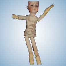 German Bisque Head stick doll for restoration Free P&I US Buyers