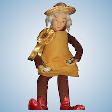 "Vintage 20"" cloth felt Gardner doll Made in Ireland  Free P&I US Buyers"