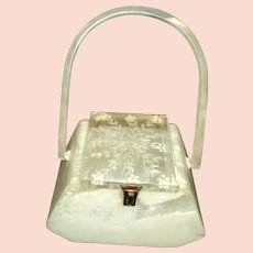 Lovely Lucite carved lid purse Free P&I US Buyers