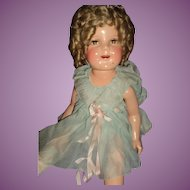 """24"""" Compo Flirty Eye Shirley Temple doll tagged Free P&I US buyer"""