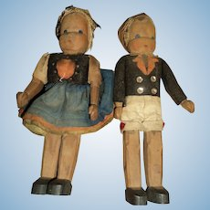 Two Wonderful Wood Wooden Dolls Free P&I US Buyers
