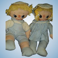 Cute cloth Musical Knickerbocker Twin Dolls Free P&I US Buyers