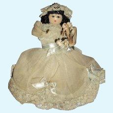 Miniature artist  wooden head doll house Bride doll