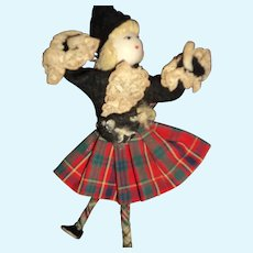 Vintage Artist Scottish Lass miniature doll Free P&I US Buyer