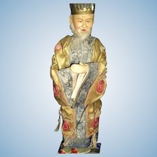 "Unusual 12"" Chinese bearded Man Doll Free P&I US Buyers"