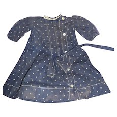 Dark Navy dotted dress for China or Bisque doll free P&I US Buyers