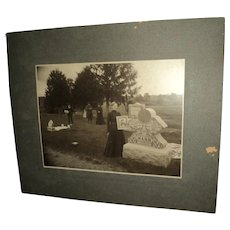 Rare  Real Photo 1800's Cemetery Mourners & Tomb Stone with Photo Free P&I US Buyers