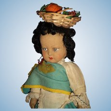 "Sweet 14"" 1940's felt Lenci type doll free p&I US Buyers"