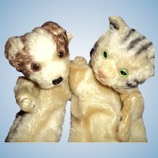2 Adorable Steiff Puppets Kitty & Puppy Free p&I US Buyers