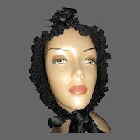 Wonderful   Crocheted Widow's Bonnet Free P&I US BUYERS