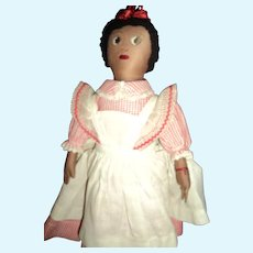 """Wonderful Hand Made 12"""" Cloth Doll with Pinafore Free P&I US Buyers"""