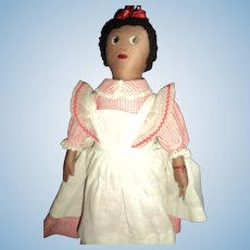 "Wonderful Hand Made 12"" Cloth Doll with Pinafore Free P&I US Buyers"