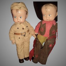 Two Amazing Effanbee Skippy Dolls Free P&I US Buyers