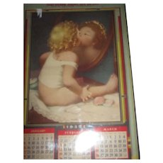 1939 Calendar Child Kissing mirror  Paul Parrot Advertising Free P&I US Buyers