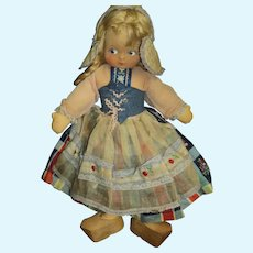 "Adorable 15"" cloth Dutch Girl Doll Free P&I US Buyers"