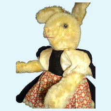 "Wonderful 11"" Dressed German Mohair Girl Bunny Rabbit Free P&I US Buyers"