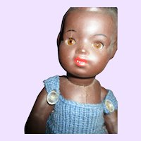 """12"""" Bisque Black doll with glass eyes Free P&I US Buyers"""