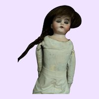 """15"""" Lovely Bisque doll leather body  Free P&I US Buyers"""