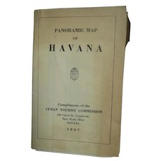 1947 Panoramic Map of Havana Compliments Cuban Tourist Commission Free P&I US Buyers