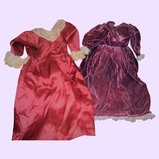 2 Vintage dresses for China or Bisque dolls Free P&I US Buyers
