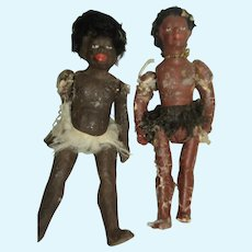 2 Miniature Bisque Native dolls Free P&I US Buyers