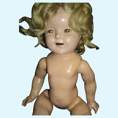 "17"" Compo Shirley Temple Project doll Part & restoration  Free P&I US Buyers"