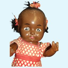 """10"""" Composition Black Baby Doll Free P&I US Buyers"""