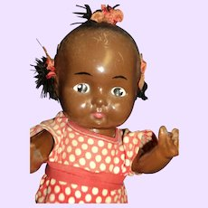 "10"" Composition Black Baby Doll Free P&I US Buyers"