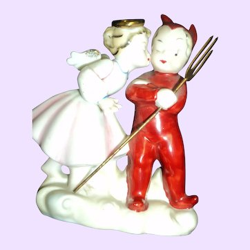 Devil and Angel Figurine Lenwile China Japan Free P&I US Buyers