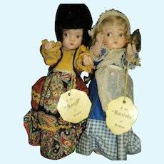 "9"" Compo 1939 New York's World Fair Dolls Dutch & Russian dolls w/hang tags Free P&I US Buyers"