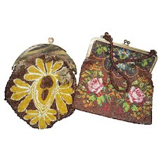 Seven vintage Beaded Bags for restoration, Trim, or miniature doll purses