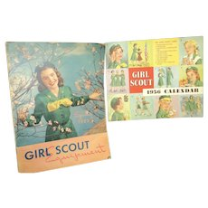 Vintage 50's Girl Scout Equipment and 1956 Girl Scout Calendar Free P&I US Buyers