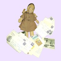 Well loved Brownie Scout doll & camp letters Free P&I US Buyers