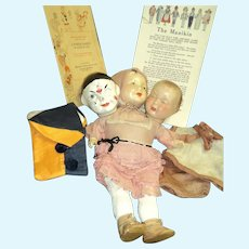Amazing 1921 FAMLEE  Berwick 3 interchangeable Doll's Heads FREE p&i us buyers
