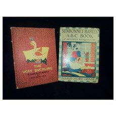 Two children's illus Books  1929 SUNBONNET Babies & 1932 The UGLY DUCKLING Peat Free P&I US Buyers