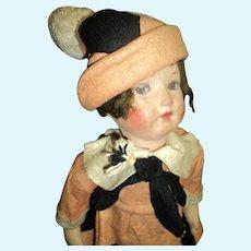 "22"" Art Deco Papier Mache Doll all orig Felt Cloth Body Free P&I US Buyers"